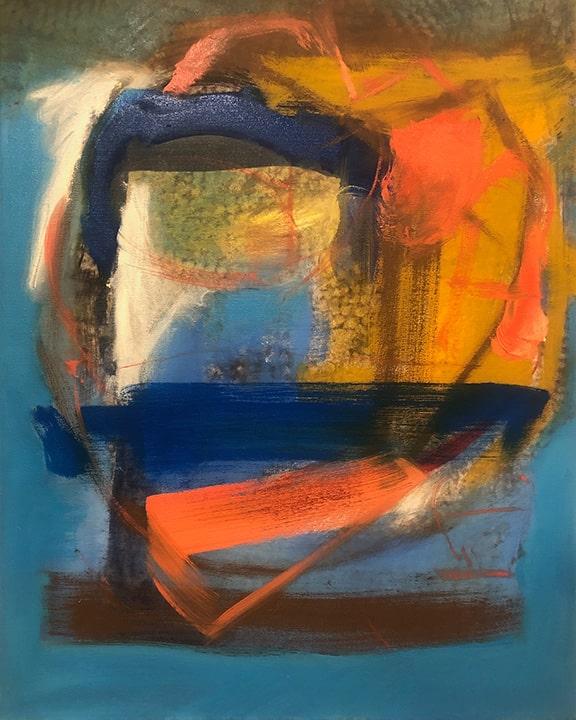 Orange, Blue and Brown, Oil, 20x16